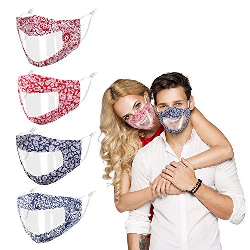Visera transparente antitorsión reutilizable, ajustable y respirable para hombre y mujer, visera de plástico sordo muti protector boca y nariz, Tessue 3 capas de algodón, diseño personalizado