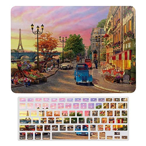 Case for MacBook Evening in Paris Plastic Pattern Hard Case & Keyboard Cover Only Compatible with MacBook New Pro 13 touch (models: A1706、A1989、 A2159)