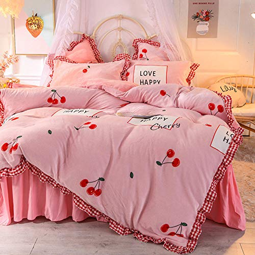 4-delige beddengoedset, voor bedden met 1,8 m, 4-delig, kussensloop voor de winter, warm, koraal, fluweel, roze
