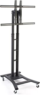 Mobile LCD Display Stand for a 32 to 65 inch Flat Panel Monitor, Height-Adjustable with Tilting Bracket - Black