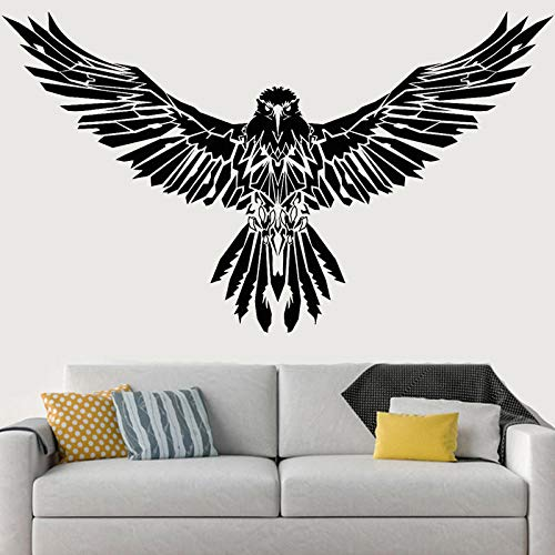 Wandaufkleber,Black Raven Wall Stickers Wings Eagle Decals Cool Vinyl Gothick Living Room Decor Bedroom Mural Home Decor Animal Paw-57X97Cm