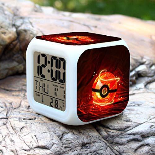 shiyueNB Pokémon go Digitale led-wekker, 7 kleurveranderingen, nachtlampje, kleurveranderende kleuren