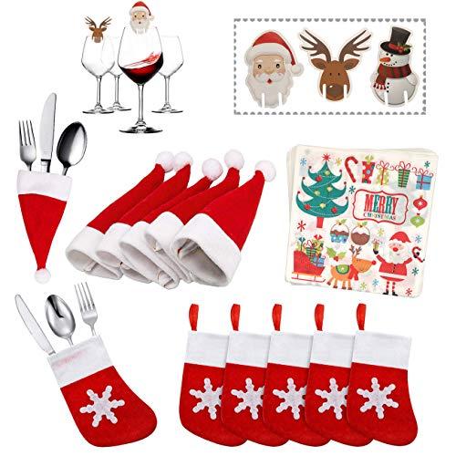 Kits de decoración de Mesa de Navidad,Paquetes de Decoraciones de Cena Mesa de Navidad Soporte Titular de Cubiertos de Calcetín de Vajilla para Suministros de Decoración de Mesa de Fiesta Navidad