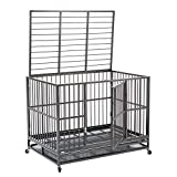 walnest 3XL Large Dogs 48'' Dog Cage and Crate Kennel Heavy Duty Double Door Pet Cage with Metal Tray Wheels Exercise Playpen Silver