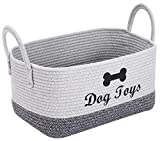 Brabtod Cotton Rope Basket | cotton dog toy basket storage, for Toys Blanket in Living Room, Baby Nursery-Light Gray/Dark Mixgray
