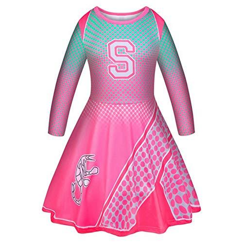 K.CS Disfraz de Zombis para niñas, Vestido de Animadora Addison Rose, Vestido de Dos Pompones de Animadora, Cuerda de Pelo a Juego para Fiesta, cumpleaños, Mujeres pequeñas