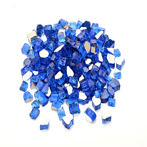 Mr. Fireglass 1/2' Reflective Fire Glass for Fire Pit, Fireplace, Fire Table in Cobalt Blue - 20 Pounds