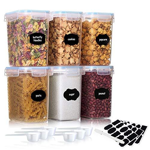 JOLIGAEA 6 PCS Plastica Contenitore per Alimenti Ermetico, 1.6L Contenitori per Cereali, Barattoli in Plastica con Coperchi, Barattoli per Conservazione Cibi per Pasta, Spaghetti, Farina