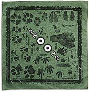 Animal Tracking Bandana / Scarf / Handkerchief / Facemask   21 Common North American Animal Tracks Found In Nature   100% Cotton   MADE IN USA!