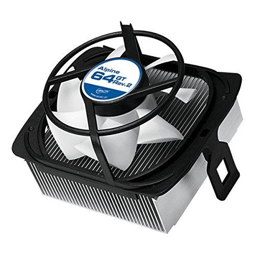 ARCTIC Alpine 64 GT Rev.2 - Superleiser AMD CPU Kühler für Mini PCs - durch 80 mm PWM Lüfter bis zu 70 Watt Kühlleistung - Mit voraufgetragener MX-2 Wärmeleitpaste - Einfachen Montagesystems