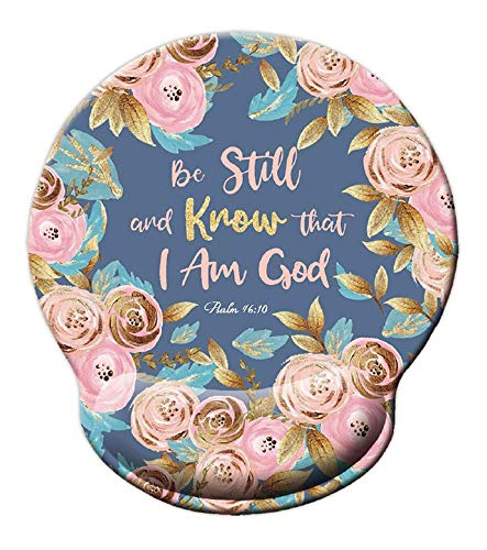 Bible Quote Mouse pad, Be Still and Know That I am God - Psalm 46:10 Mousepad, Watercolor Floral Mousepad with Wrist Support, Cute Wrist Pad for Computer, Laptop, Home Office Gaming, Working