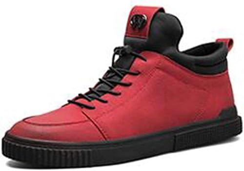 DSX Hiver Tendance Coréenne de Chaussures de Plaque de Loisirs Rouge Noir PU, Rouge, EU43   UK9   CN44