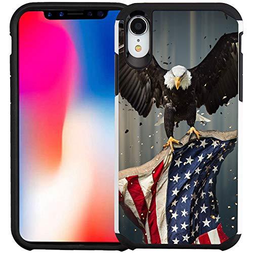 iPhone XR Hülle, doppellagig, stoßfest, stoßfest, für Apple iPhone XR 2018 Version, American Bald Eagle Flying with Flag