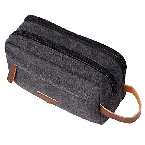 Kits de lona de viaje para hombres Organizador de maquillaje cosmético Bolsa de aseo para mujer con compartimento doble Estuche de belleza, negro