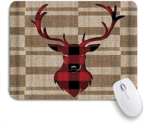 Benutzerdefiniertes Büro Mauspad,Brown Buffalo Check Plaid Deer Head mit Retro-Leinwanddruck,Anti-slip Rubber Base Gaming Mouse Pad Mat
