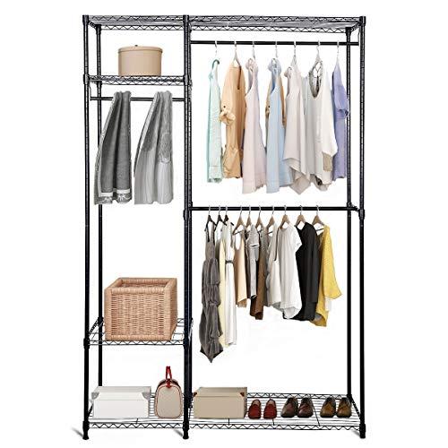 DREAMADE AusziehbaresKleiderschrank, Metall Gardenobenschrank Kleiderständer mit 4 verstellbaren Ablagen & 3 Kleiderstangen, Mehrzweckschrankfür Kleidung Schuhe, schwarz