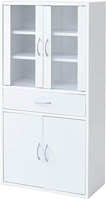 山善 食器棚 幅60×奥行29×高さ120cm 引き出し マグネット式 棚板可動組立品 ホワイト CCB-1260(WH)
