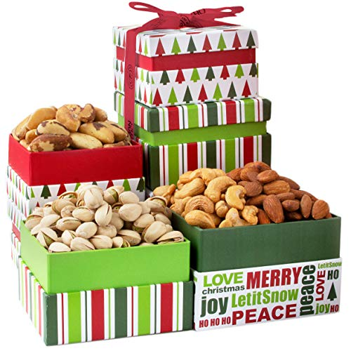 Oh! Nuts Christmas Nut Gift Towers, Gourmet Holiday Assortment Tower Gifts Box For Men Women...