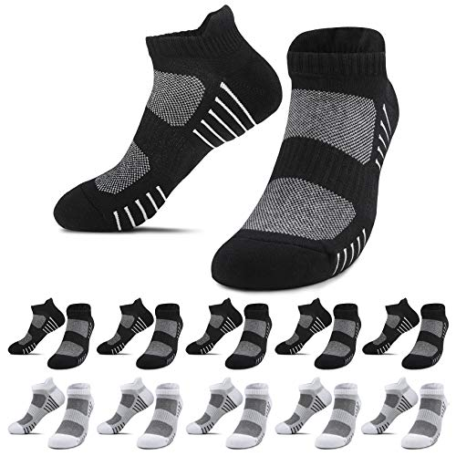 YouShow 10 pares calcetines hombre mujer finos calcetin punto sin costuras running calcetín Negro y Blanco,43-46