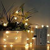 Uping Led Lichterkette Sterne 30er Batterienbetriebene für Party, Garten, Weihnachten, Halloween, Hochzeit, Beleuchtung Deko usw. 4,5M warm weiß - 6