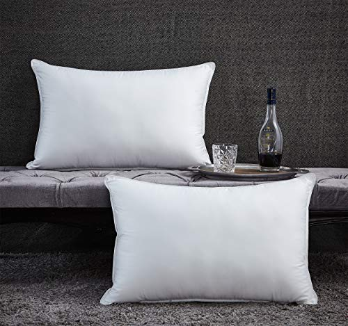 Luxurious Premium Goose Down Pillow - 1200 Thread Count Egyptian Cotton, Medium Firm, Queen Size, White Color