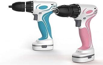 Pequeño taladro de mano recargable, destornillador eléctrico multifuncional para taladro de pistola de litio para uso doméstico, color rosa