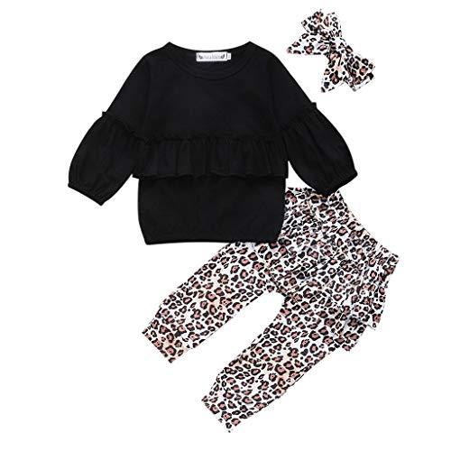 Zegeey Kleinkind Baby Sweatshirt Langarm Hose Leopardenmuster Haarband Outfit Bekleidungssets MäDchen Geburtstag Geschenk(Schwarz,80-90)