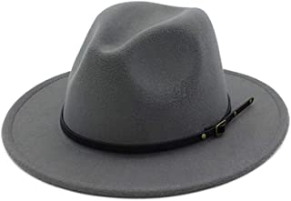 DJB Women s Classic Wide Brim Wool Fedora Panama Hat with Belt Buckle d1737959b134