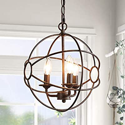LOG BARN 12'' Globe Chandeliers, 3-Light Industrial Orb Pendant Lighting Fixture for Kitchen, Dining Room, Foyer and Bedroom, Rustic Bronze