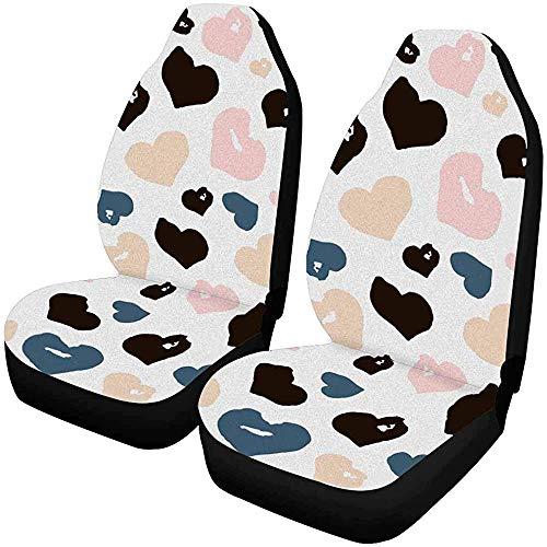 Set van 2 autostoelhoezen bruin pannenkoek Franse pannenkoeken chocolade saus en suiker poeder universele auto voorstoelen beschermer 14-17IN