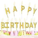 Velas de Cumpleaños Happy Birthday Letras ,Velas de Pastel de Feliz Cumpleaños de Oro,Vela de Cumpleaños, Velas de Pastel, Velas Metálicas para Cupcakes en Soportes para Decoración de Pasteles