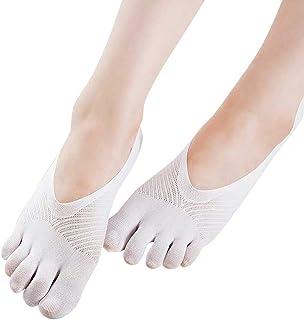 Calcetines de Algodón Cinco Dedos Calcetines Mujer Color Sólido Algodón Calcetines Mujer Antideslizante Invisible Calcetines Cortos Respirable Calcetines Tobilleros Calcetines