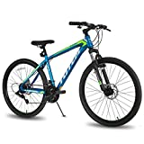 Hiland 26 Inch Mountain Bike Steel Frame with Disc-Brake and Kickstand 21 Speeds Blue
