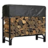 North East Harbor Outdoor Firewood Log Rack Cover - 49' L x 24' W x 20' H - Short Top Cover - UV Protected, and Weather Resistant Storage Cover - Black