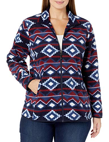 Amazon Essentials Women's Plus Size Full-Zip Polar Fleece Jacket, Navy/Burgundy Large Geo, 3X