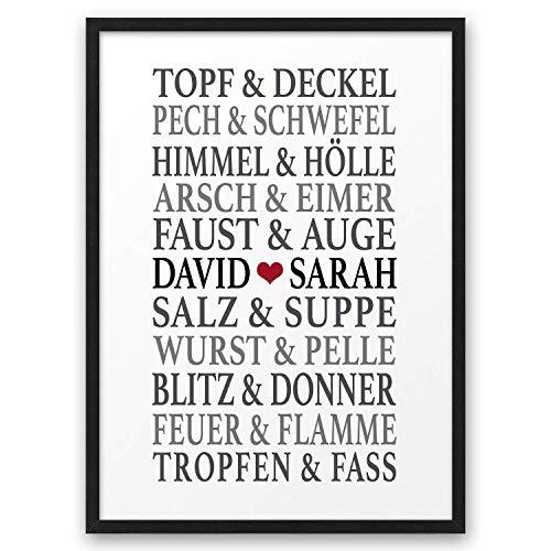 Traumpaar LUSTIG II ABOUKI Kunstdruck Poster Bild mit Namen personalisiert Geschenk-Idee Hochzeit Valentinstag Jahrestag für Liebes-Paar Sie Ihn optional mit Holz-Rahmen