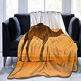 Emily-Shop Coperta in Pile di Flanella Gettare Desert Sand Camel Coperta da tiro in Velluto Ultra Morbido