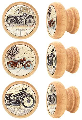 Lashuma meubelknoppen rond, schuifladenknoppen materiaal: hout, stabiele commodegrepen Ø 4 cm, vintage meubelgrepen in 6-delige set Retro 4 cm motorfiets