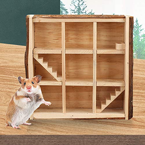 WANGQI Hámster juguete de madera para animales pequeños, juguete natural Living Torre de juego para hámsters, hámsters, mascotas, hámsters, laberinto de lujo, tubo, túnel, jaula para animales pequeños