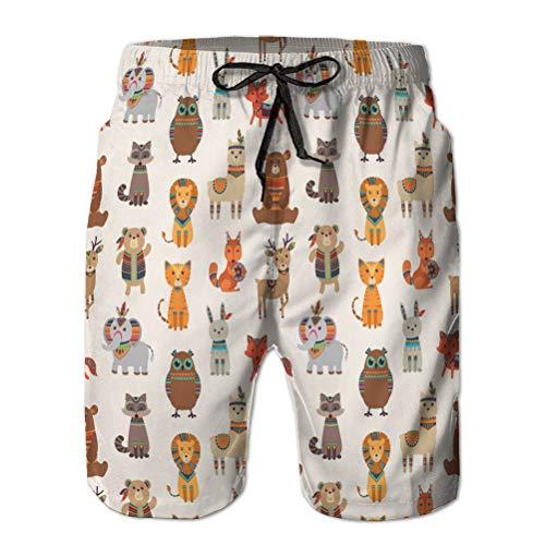 120 Boardshorts d'été pour Homme Shorts décontractés Tribal Animal modèle sans Couture Ethnique sty XXL