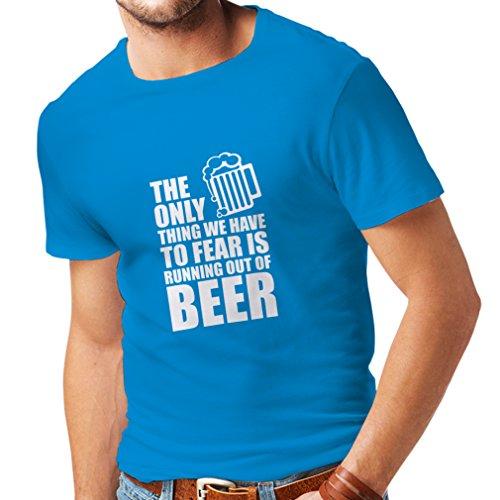 lepni.me Camisetas Hombre Tener Miedo de no Tener una Cerveza - para la Fiesta, Bebiendo Camisetas (XX-Large Azul Blanco)