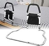 4YANG Barandilla de seguridad para cama con barandilla de seguridad plegable con organizador, barandilla de noche de acero inoxidable para ayudar a ancianos embarazadas discapacitadas