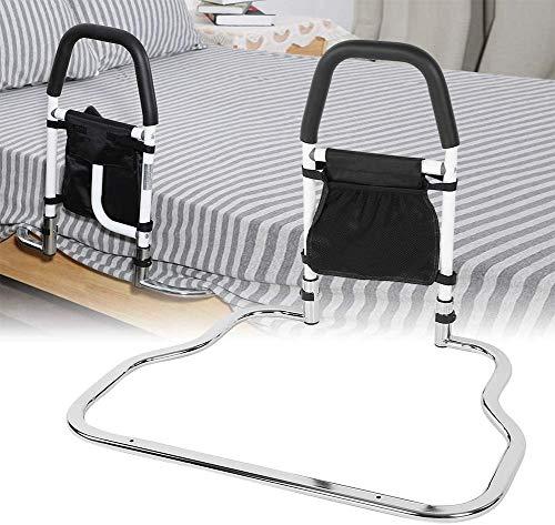 4YANG Barandilla de seguridad para cama con barandilla de seguridad plegable con organizador, barandilla de noche de acero inoxidable para ayudar a ancianos embarazadas discapacitadas 🔥