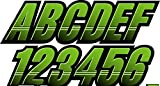 STIFFIE Techtron Team Green/Black Super Sticky 3' Alpha Numeric Registration Identification Numbers Stickers Decals for Sea-Doo Spark, Inflatable Boats, Ribs, Hypalon/PVC, PWC and Boats.