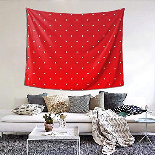 KCOUU Wandteppich für Schlafzimmer, rot und weiß gepunktet, Wandbehang, Tagesdecke, Picknickdecke, Wandteppich, Überwurf, Kunst-Dekor