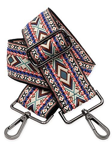BENAVA Taschengurt Boho Muster Schulterriemen für Taschen 75-135cm mit Karabiner in Farbe Schwarz | Schultergurt für Taschen mit Strickmuster als Ersatz für Taschenhenkel Taschenriemen Taschenkette