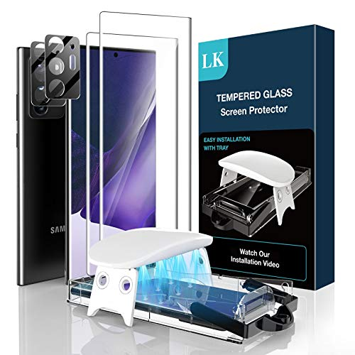 LK 4 Pack 2Pcs Screen Protector & 2Pcs Camera Lens Protector Compatible with Samsung Galaxy Note 20 Ultra 6.9-inch, Tempered Glass, Ultrasonic Fingerprint Support, Easy Install Kit, HDClear Film