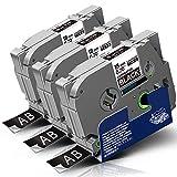 3x Labelwell 18mm Tzc-345 Weiß auf Schwarz Kompatibel Schriftband Ersatz für Brother Tze-345 Tze345 Tz-345 für Brother P-Touch PT D450VP D400 E300VP E500VP P900W P950NW D600VP P750W Beschriftungsgerät