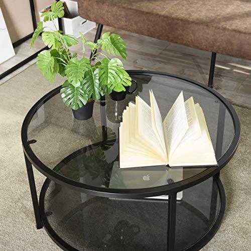 HOMYCASA Moderner Couchtisch mit Glasplatte für Wohnzimmer mit 2 Etagen, 80 cm breit, Grau / Schwarz