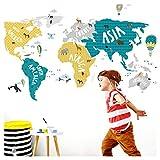 Little Deco Tatuaggio murale Mappa del mondo Animali Mappa del mondo Animali grigio turchese giallo I (LxA) 80 x 42 cm I Adesivo murale per bambini Camera dei Poster appiccicoso DL128